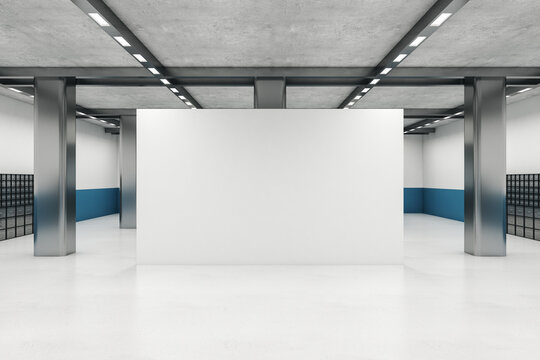 Luxury gallery hall with empty wall and metal columns.