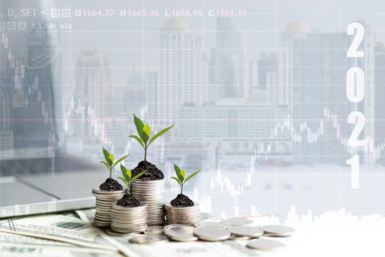 2021 New year on growing up money coin stack for investment.  Economic and business growth in 2021, planning financial report for investor real estate business