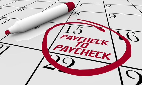 Paycheck to Paycheck Difficulty Paying Bills Budget Calendar 3d Illustration