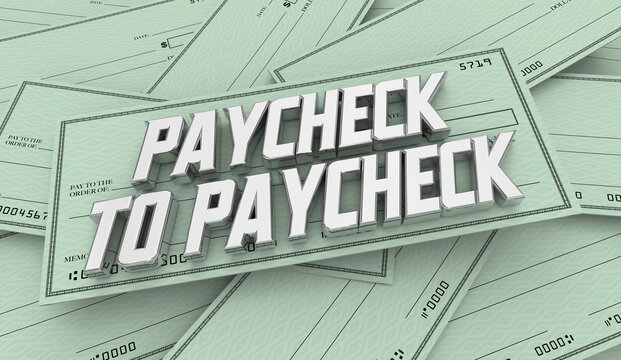 Paycheck to Paycheck Money Pile Personal Finance Debt 3d Illustration