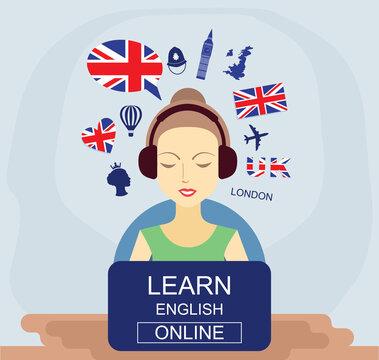 Learn english online concept. Language school vector