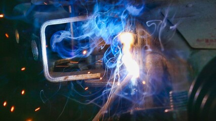 abstract fractal background, photo as a background , welding background, welder at work