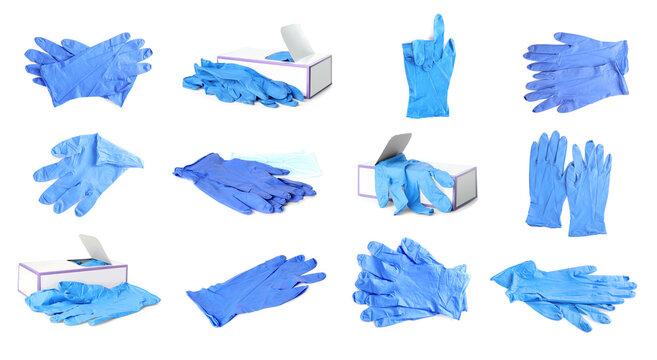 Set of medical gloves on white background. Banner design
