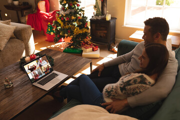 Caucasian couple at christmas on a video call