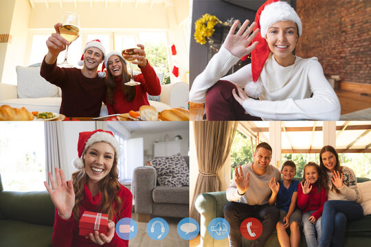 Four screens showing people in their homes wearing santa hats having video chat interacting with fri