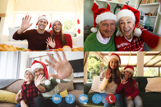 Four screens showing people wearing santa hats having video chat interacting with friends