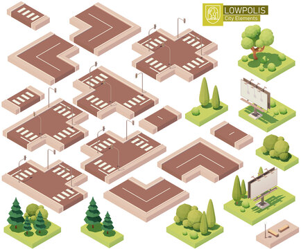 Vector isometric city street parts. Roads, crossroads, lawn, trees and bushes. Isometric city or town map construction elements