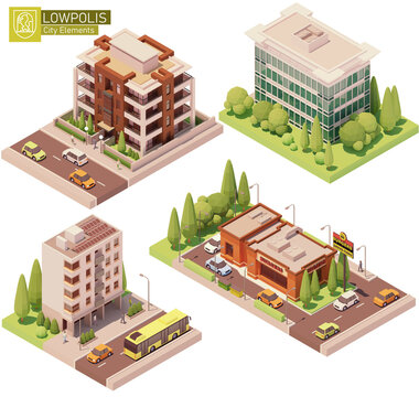 Vector isometric buildings and street elements set. Houses, homes fast food restaurant. High-rise buildings, trees, cars and people. Isometric city or town map construction elements