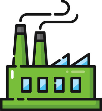 Factory Manufacturing Filled Outline Icon