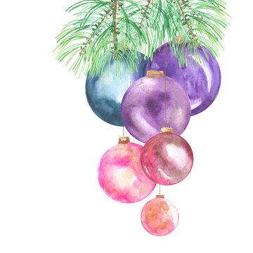 colorful christmas balls decor on spruce tree