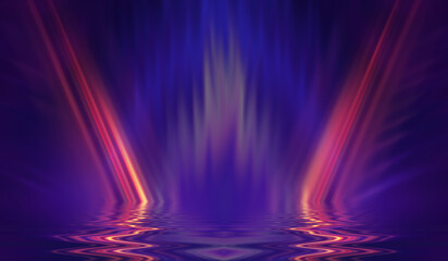 Abstract dark futuristic background. Ultraviolet multicolored beams of neon light reflect off the water. Background of empty stage show, beach party. 3d illustration Fotomurales