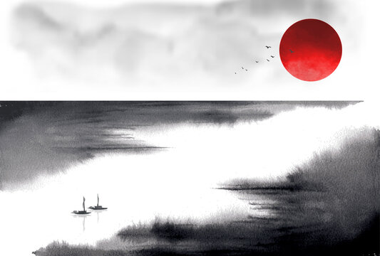 Minimalist ink wash painting landscape with fishing boats on big river. Traditional Japanese ink wash painting sumi-e.