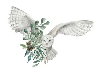 Watercolor illustration with a cute polar owl and floral bouquet. Cute winter animal, wildlife, illustration with bear. Adorable wild snowy owl and spruce branch and leaves