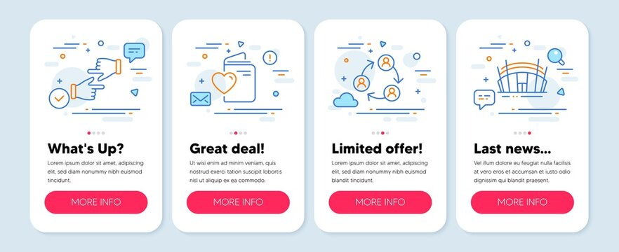 Set of Business icons, such as Click hands, Teamwork, Love document symbols. Mobile app mockup banners. Arena stadium line icons. Direction, Business conference, Registry office. Sport complex. Vector