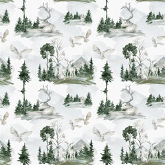 Watercolor seamless pattern with wildlife winter landscape, white deer, snowy owl, spruce, birch tree. Wildlife nature elements, animals, trees for children's textile, wallpaper, covers