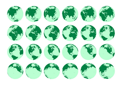 Vector set showing detailed isometric view of the rotation of the Earth in one hour. North Pole view.