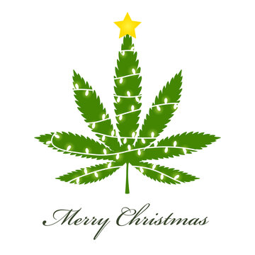 Cannabis christmas tree disign icon. Clipart image isolated on white background.