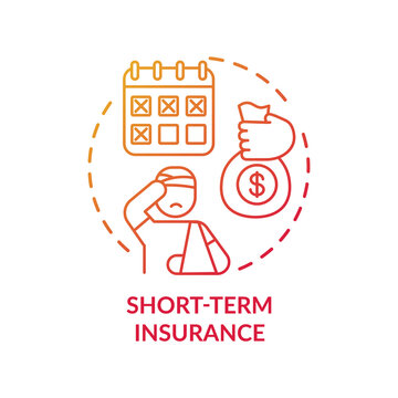 Short term insurance concept icon. Disability insurance types. Health body injury during job process. Compensation idea thin line illustration. Vector isolated outline RGB color drawing