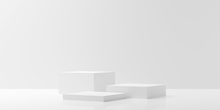 Modern abstract empty white room with three podiums in the center, product presentation template or winning ceremony background