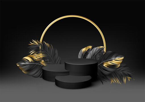 3d realistic black pedestal on a black background with golden elements palm leaves. Empty space design luxury mockup scene for product. Vector illustration