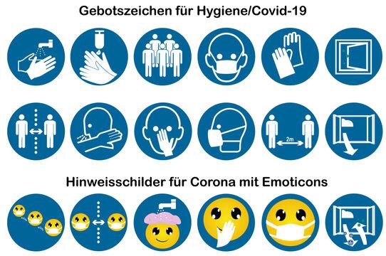 Sammlung von Gebotszeichen für Covid-19 und Hinweisschilder mit Emoticons.