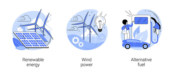 Clean energy abstract concept vector illustration set. Renewable energy, wind power, alternative fuel, solar panels, green electricity, charging station, light bulb, windfarm abstract metaphor.