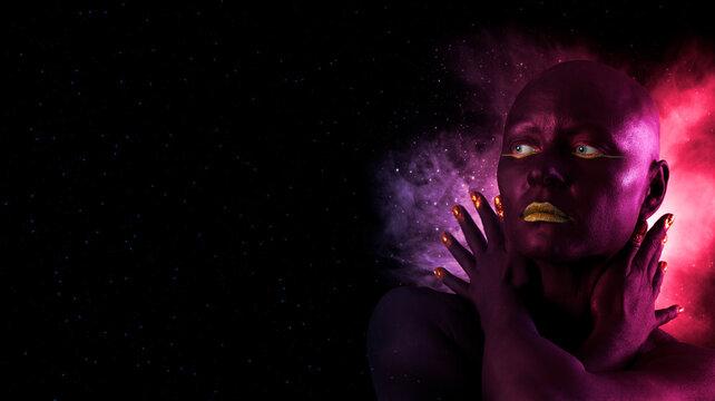 Black woman skin. Beauty fashion model girl with black make-up