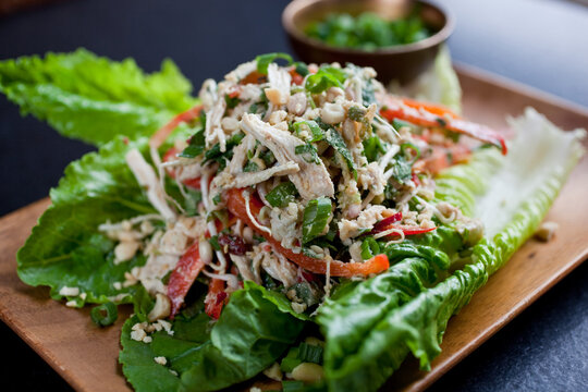 Close up of Indonesian style chicken salad