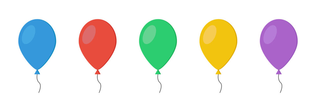 Colorful balloons collection on white background. Flat balloon set vector illustration.