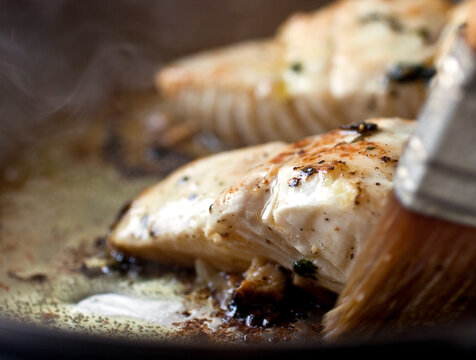 Close up of pan seared marinated Halibut filets
