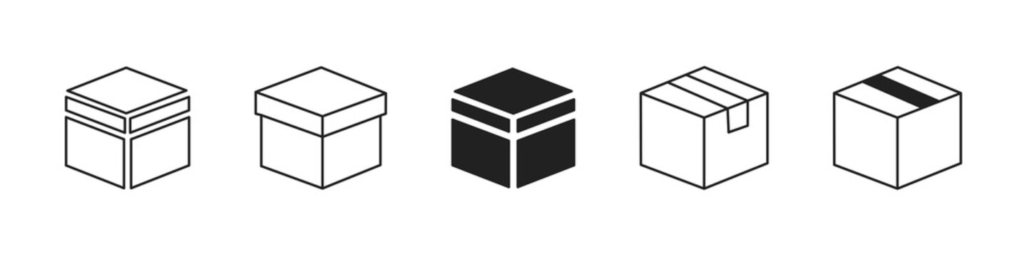 Line box icon collection. Vector boxes symbol set.