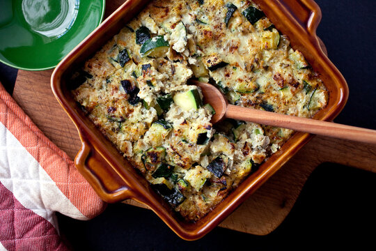 Quinoa and squash gratin on baking pan