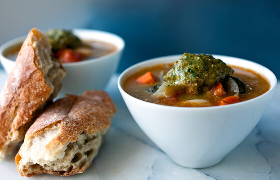 Close up of minestrone soup bowl