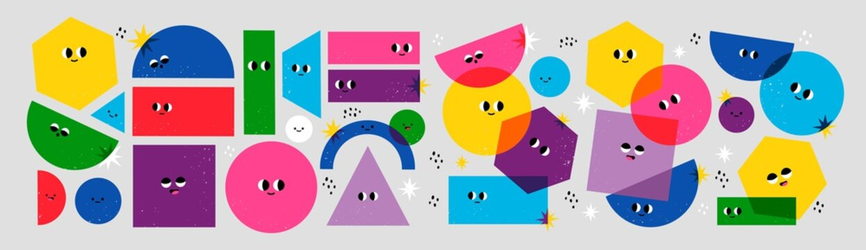 Big Set of Various bright basic Geometric Figures with face emotions. Different shapes. Hand drawn trendy Vector illustration for kids. Cute funny characters. All elements are isolated