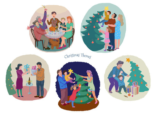 Christmas and New Year fest family celebration illustration set