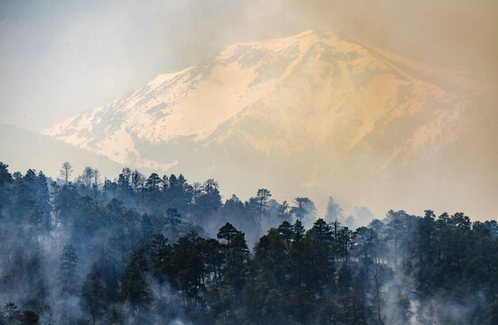 The San Francisco Peaks in Coconino National Forest on Fire
