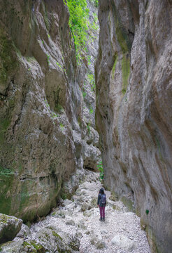 Gole di Celano (Italy) - A naturalistic wild attraction for hikers in the Natural Park Sirente-Velino, Abruzzo region, municipal of Aielli and Celano