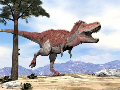 Tarbosaurus walking while roaring by day - 3D render