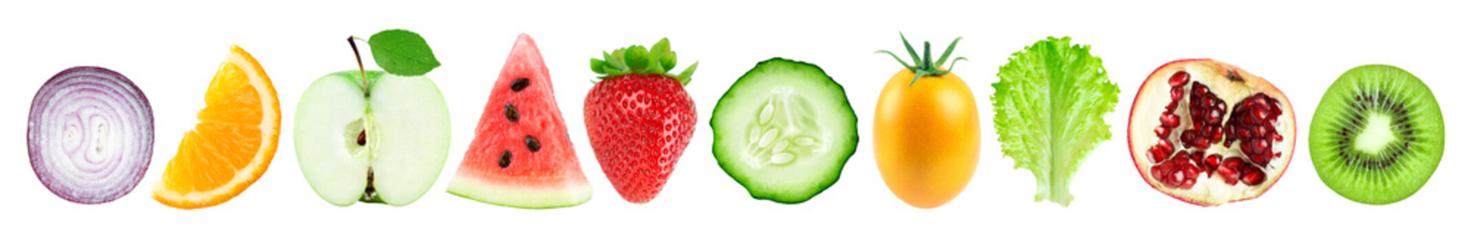 Collection of fruits and vegetables isolated on white background. Fresh sliced food