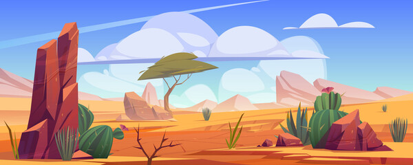 Desert landscape with rocks, tropical tree, grass and blooming cactuses. Vector cartoon illustration of hot sand desert in Africa with stones, dune and plants