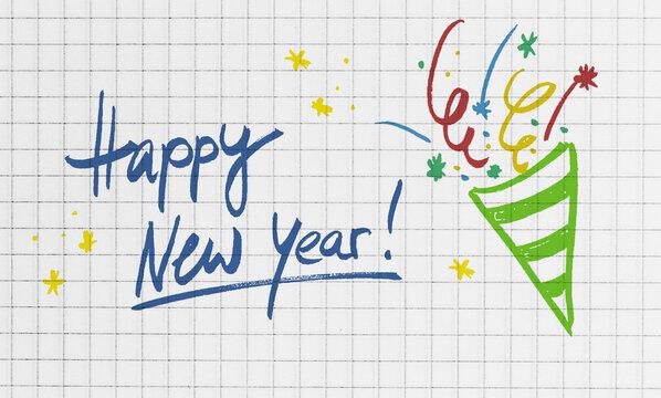 Happy New Year Konzept auf karierten Schreibblock