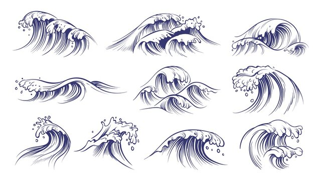 Ocean hand drawn waves. Sketch style sea storm blue water, curly foamy splashes, tsunami and tide vintage collection, surfing season decorative surge wave, vector marine isolated on white set