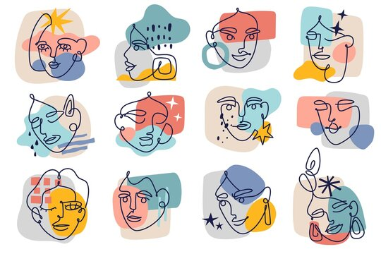 Abstract contour female faces. Modern one line women portraits sketches collection, contemporary collage background colorful spots, trendy doodle minimalist faces. Vector isolated set