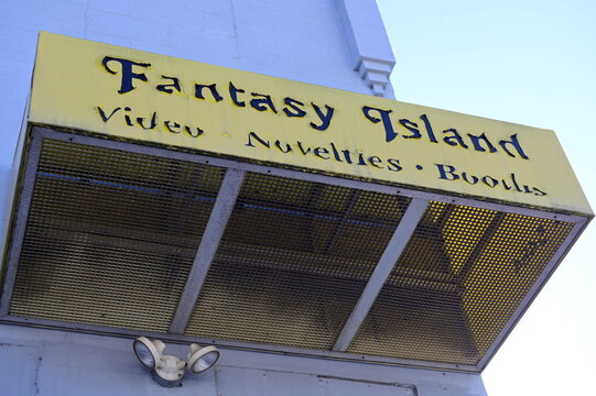 An exterior view of the Fantasy Island adult bookstore, a business located next door to Four Seasons Total Landscaping, the site of a Trump-campaign news conference days earlier, in Philadelphia