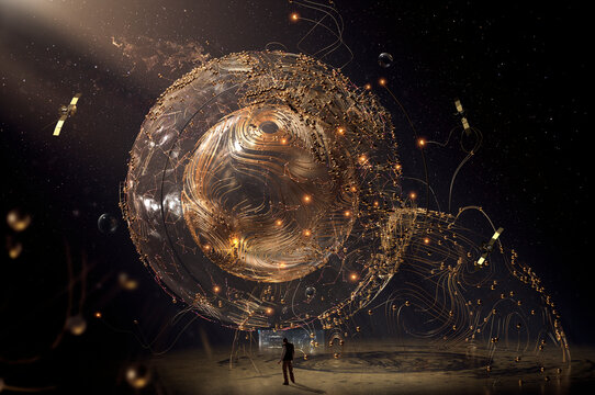 Person standing in front of large metallic wired globe