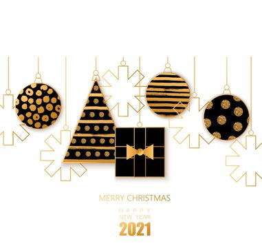 Merry Christmas and Happy New Year background with golden glitter balls, Christmas tree.