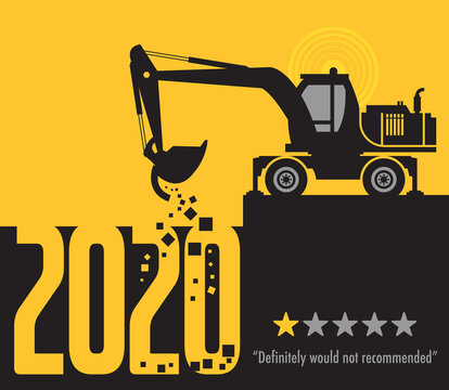 Tractor excavator at work on the construction site, 2020 One Star Rating