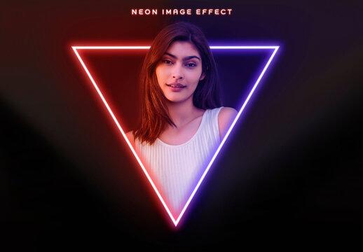 Neon Photo Effect Mockup