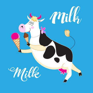 Fun vector illustration with a cow and ice cream