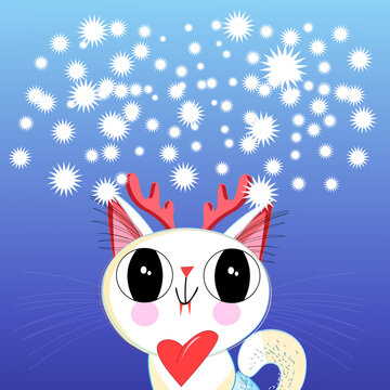 New year vector illustration of a funny cat
